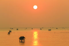 Silhouette view at sunrise time of bamboo cottage at Bang Tabun, Phetchaburi, Thailand Royalty Free Stock Images