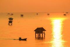 Silhouette view at sunrise time of bamboo cottage at Bang Tabun, Phetchaburi, Thailand Stock Photography