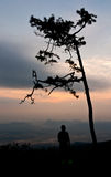 Silhouette view of tourist and beautiful landscape Stock Photos