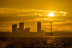 Silhouette view of Yokohama city Stock Image