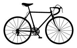 Silhouette of vintage bicycle on white Royalty Free Stock Image