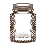Silhouette vintage jar of jam with lid Royalty Free Stock Images