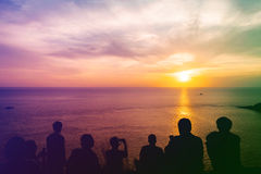 Silhouette vintage people with color of the sunset. Lan prom thep view point, Phuket Thailand Royalty Free Stock Image