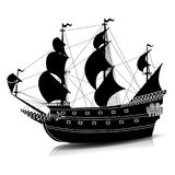 Silhouette vintage sailing ship with reflection. On a white background Royalty Free Stock Images