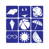 Silhouette Vintage Summer Holiday Icon Set Stock Photo