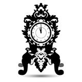 Silhouette of vintage watch in baroque style. Isolated on White background. Vector illustration Royalty Free Stock Images