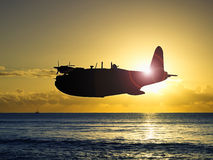 Silhouette of Vintage World War 2 flying boat Royalty Free Stock Photos