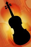 The silhouette violin. Violin in a composition with a red fire background stock photo
