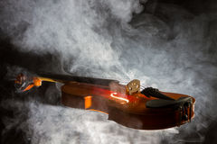 Silhouette of a violin Stock Photos