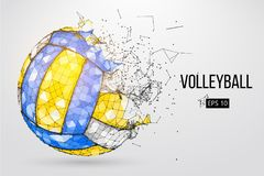 Silhouette of a volleyball ball. Vector illustration. Silhouette of a volleyball ball. Dots, lines, triangles, text, color effects and background on a separate royalty free illustration