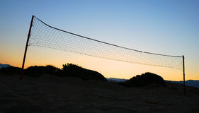 Silhouette of a volleyball net Stock Images