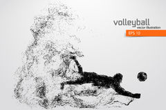 Silhouette of volleyball player. Royalty Free Stock Image
