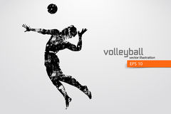 Silhouette of volleyball player. Royalty Free Stock Images