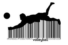 Silhouette of volleyball player. Stock Photos
