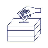 Silhouette with vote hand urn. Vector illustration Stock Images