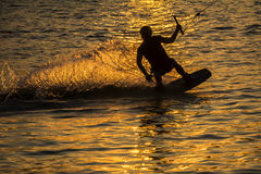 Silhouette Wakeboarder in action Stock Photography