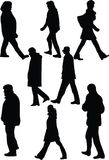 Silhouette of walkers. On white background Stock Photos