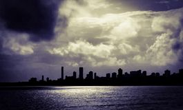 Silhouette of Walkeshwar, South Mumbai, India Royalty Free Stock Photos