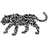 Silhouette of a walking black panther in a tattoo style. Vector illustration Stock Photo