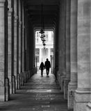 Silhouette walking in Paris Stock Photo