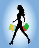 Silhouette going to shopping Royalty Free Stock Photo