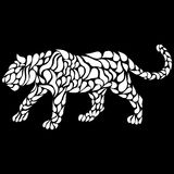 Silhouette of a walking white panther in a tattoo style. Vector illustration Stock Photo