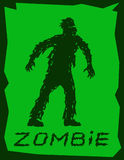 Silhouette of a walking zombie concept. Vector illustration. Drawing scary character design. The horror genre. Green color background Stock Photos