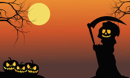Silhouette of warlock and pumpkins Stock Photography