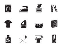 Silhouette Washing machine and laundry icons Stock Photography