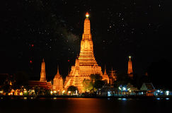 Silhouette of Wat Arun at sunset,The Temple of Dawn, Bangkok ,T Royalty Free Stock Photos