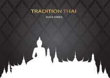 Silhouette Wat in bangkok thailand on pattern background. Vector Stock Images