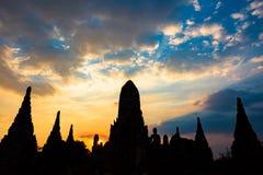 Silhouette of Wat Chai Wattanaram temple on sunset Royalty Free Stock Image