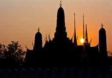 Silhouette of  Wat Phra Kaew Stock Images