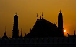 Silhouette of  Wat Phra Kaew Stock Image