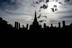 Silhouette Wat Yai Chaimongkol Stock Image