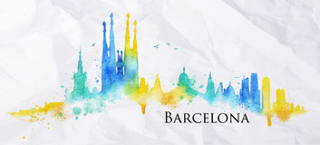 Silhouette watercolor Barcelona. Silhouette Barcelona city painted with splashes of watercolor drops streaks landmarks in blue with yellow tones Stock Photo
