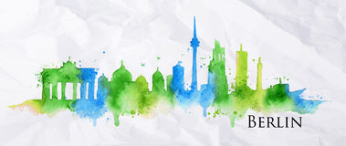 Silhouette watercolor Berlin. Silhouette Berlin city painted with splashes of watercolor drops streaks landmarks in blue and green tones Royalty Free Stock Photo