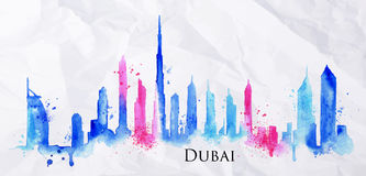 Silhouette watercolor Dubai. Silhouette of Dubai city painted with splashes of watercolor drops streaks landmarks in blue with pink Stock Photos