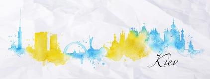 Silhouette watercolor Kiev Stock Image
