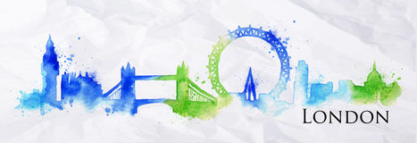 Silhouette watercolor London Royalty Free Stock Photos