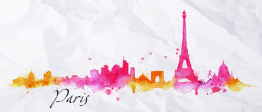 Silhouette watercolor Paris. Silhouette Paris city painted with splashes of watercolor drops streaks landmarks in pink with orange tones Stock Photography