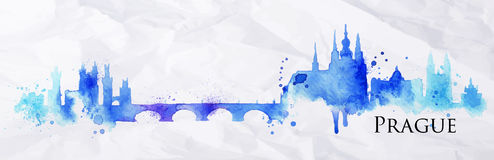 Silhouette Watercolor Prague Royalty Free Stock Photography
