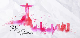 Silhouette watercolor Rio de Janeiro. Silhouette Rio de Janeiro city watercolor painted with spray droplets with streaks landmarks in pink and purple colors Stock Photo