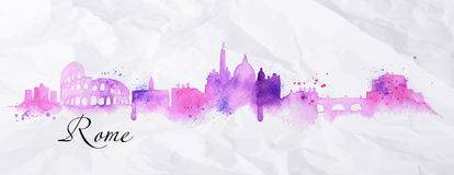 Silhouette watercolor Rome. Silhouette Rome city painted in watercolor with spray droplets with streaks landmarks in pink and purple colors Royalty Free Stock Image