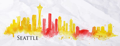 Silhouette watercolor Seattle. Silhouette Seattle neighborhood painted with splashes of watercolor drops streaks landmarks with a yellow-red colors Royalty Free Stock Image