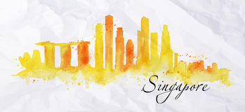 Silhouette watercolor Singapore. Silhouette Singapore city painted with splashes of watercolor drops streaks landmarks in orange with yellow tones Royalty Free Stock Image
