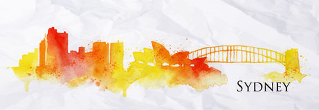 Silhouette watercolor Sydney Stock Photos