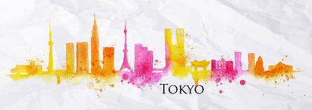 Silhouette watercolor Tokyo. Silhouette of Tokyo city painted with splashes of watercolor drops streaks landmarks in yellow with pink tones Stock Photos