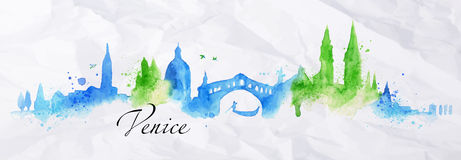 Silhouette Watercolor Venice Stock Image