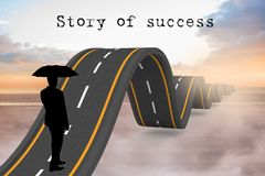 silhouette with wavy road and story of success text Royalty Free Stock Photography